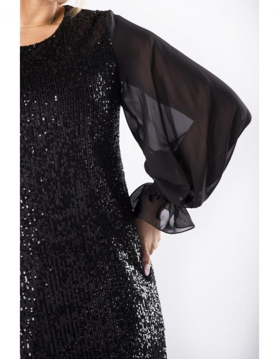 Rochie neagra cu paiete si maneci lungi - Rochii de seara XXL 2