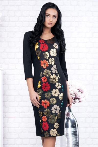 Rochii inflorate - Rochie neagra midi cu imprimeu floral Ania 2