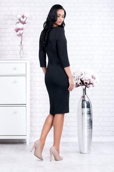 Rochii inflorate - Rochie neagra midi cu imprimeu floral Ania 1