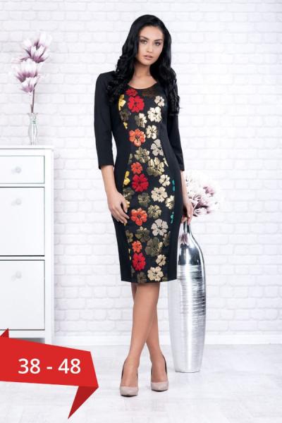 Rochii inflorate - Rochie neagra midi cu imprimeu floral Ania 0