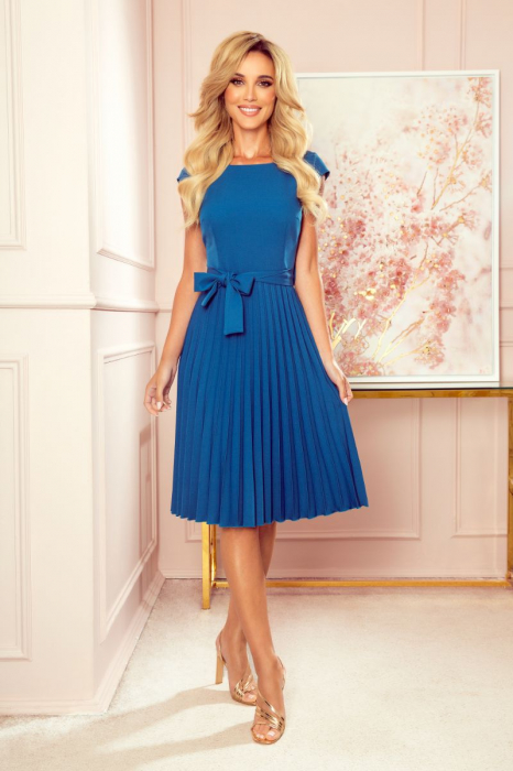 Rochie plisata eleganta albastra cu funda - Rochii Numoco Polonia [0]