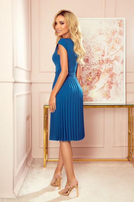 Rochie plisata eleganta albastra cu funda - Rochii Numoco Polonia [1]