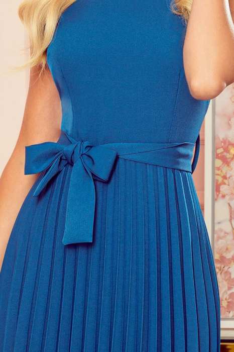 Rochie plisata eleganta albastra cu funda - Rochii Numoco Polonia [2]