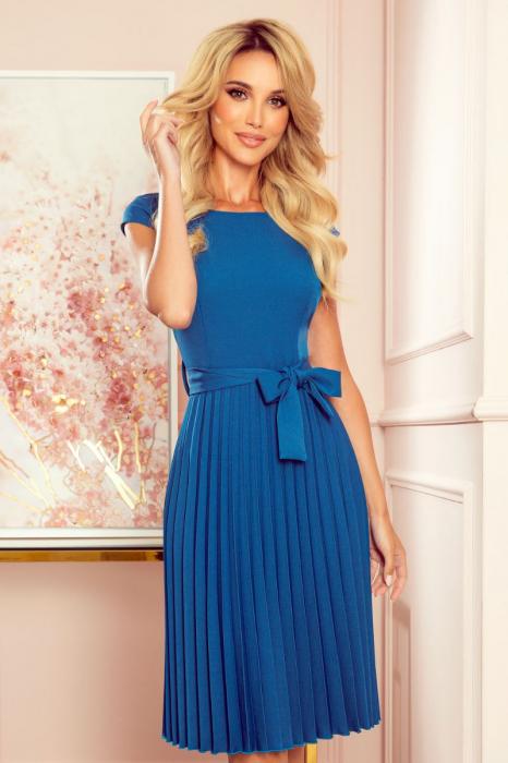 Rochie plisata eleganta albastra cu funda - Rochii Numoco Polonia [3]