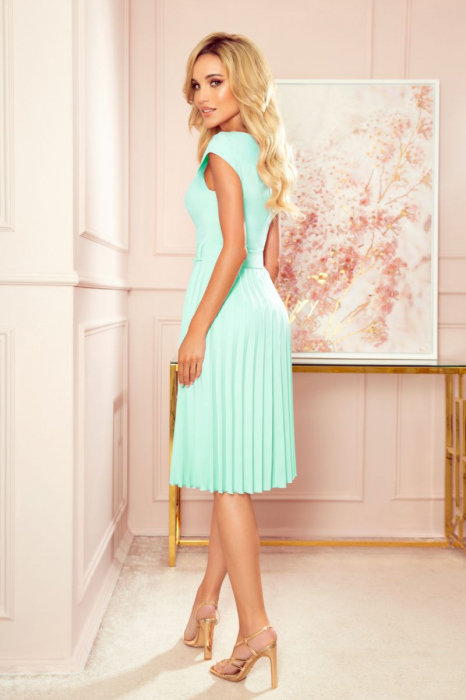 Rochie plisata eleganta cu funda verde menta [1]