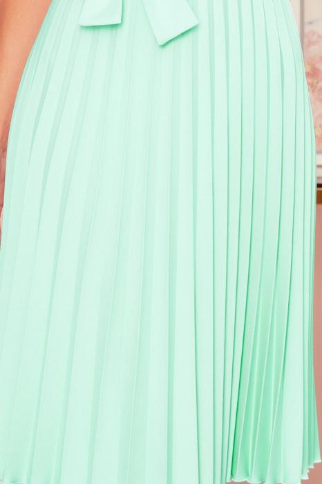 Rochie plisata eleganta cu funda verde menta [3]