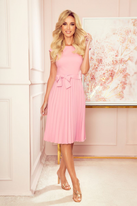 Rochie plisata eleganta roz cu cordon - Rochii Numoco Polonia [0]