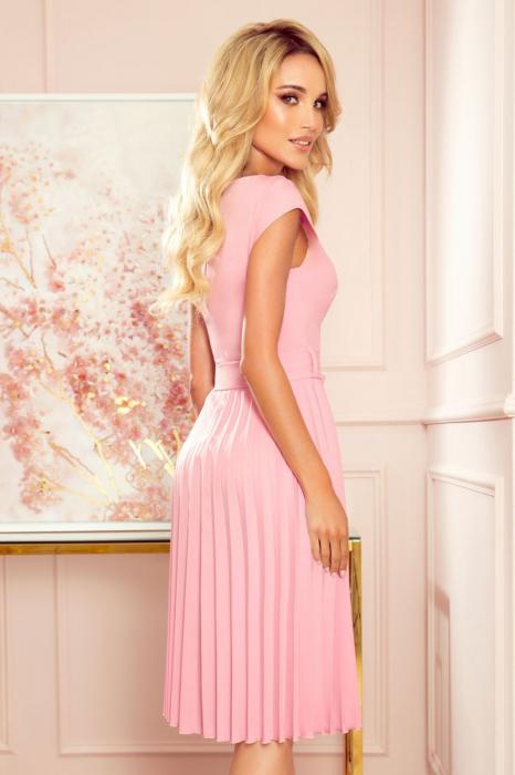 Rochie plisata eleganta roz cu cordon - Rochii Numoco Polonia [2]