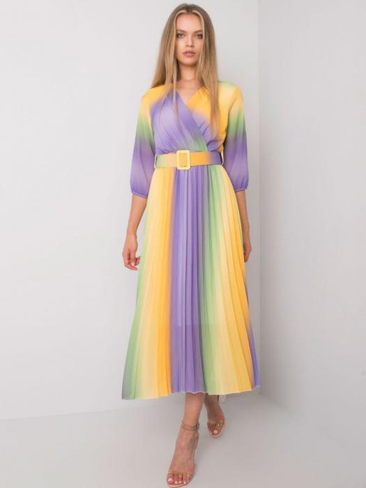 Rochie plisata multicolora galben-mov - Rochii plisate elegante [0]