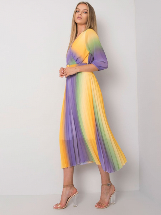 Rochie plisata multicolora galben-mov - Rochii plisate elegante [2]