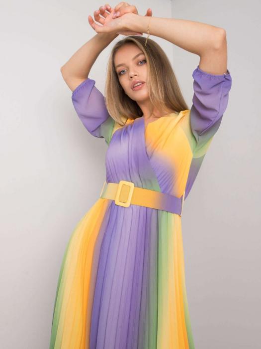 Rochie plisata multicolora galben-mov - Rochii plisate elegante [3]