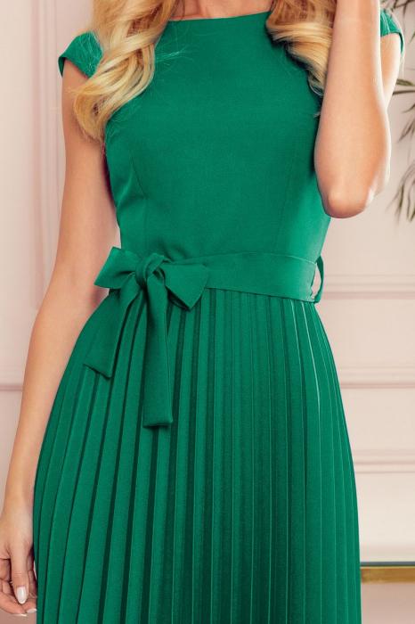 Rochie plisata eleganta verde cu funda - Rochii Numoco [2]