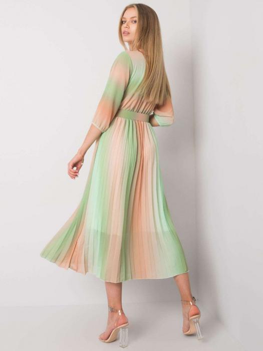 Rochie plisata midi eleganta curcubeu verde portocaliu [1]