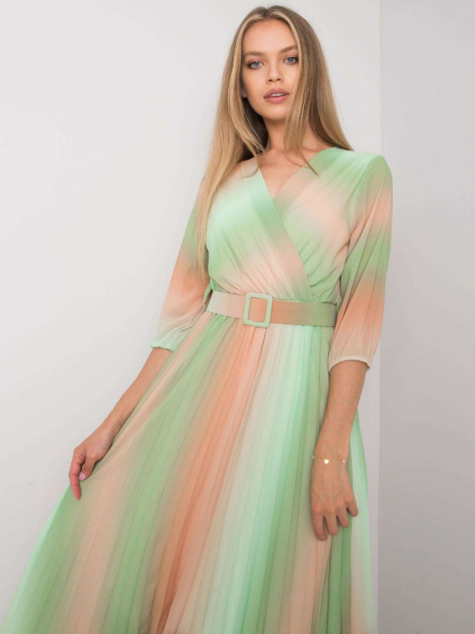 Rochie plisata midi eleganta curcubeu verde portocaliu [3]