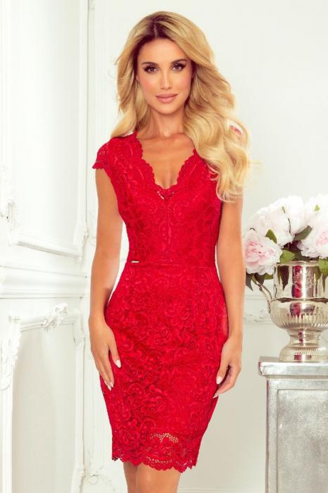 Rochie rosie de seara din dantela 1