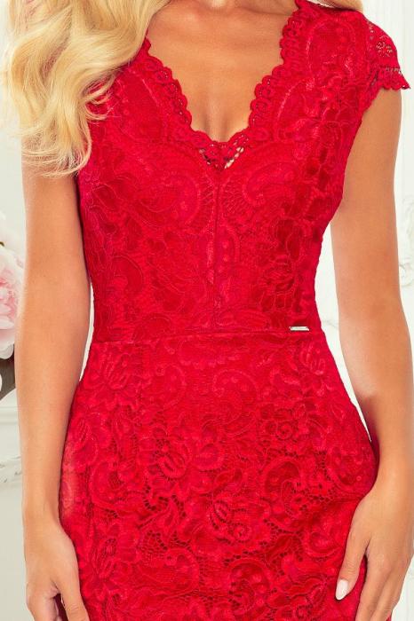 Rochie rosie de seara din dantela 2
