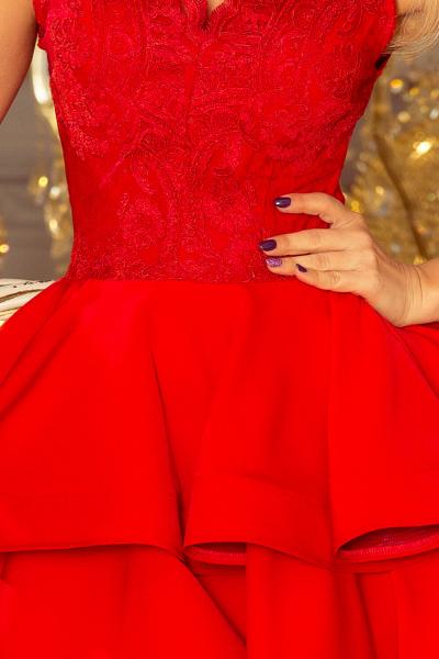 Rochie rosie scurta de seara Charlotte - Rochii scurte elegante 2