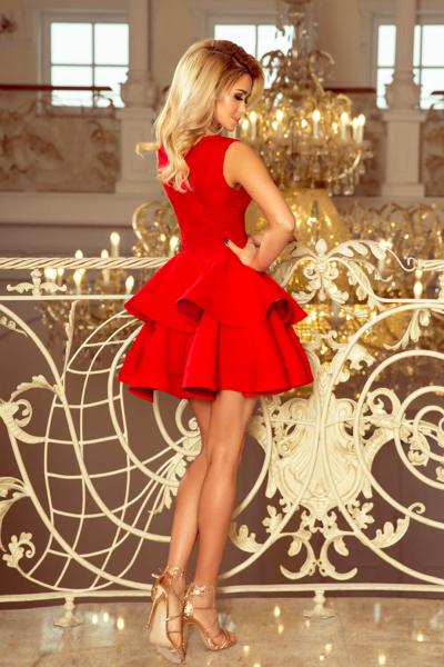 Rochie rosie scurta de seara Charlotte - Rochii scurte elegante 1