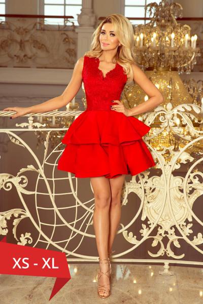 Rochie rosie scurta de seara Charlotte - Rochii scurte elegante 0