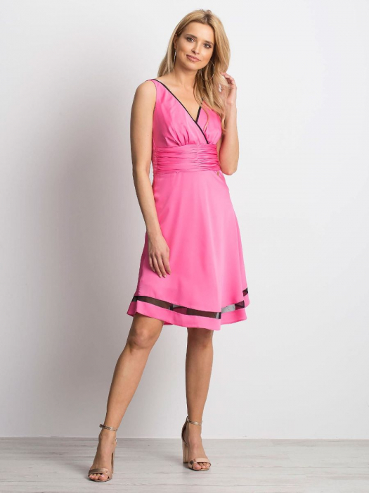 Rochie roz eleganta cu plasa neagra transparenta - Rochii ieftine [0]