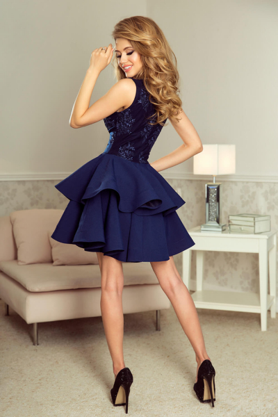 Rochie scurta de seara albastra Charlotte - Rochii scurte elegante 1