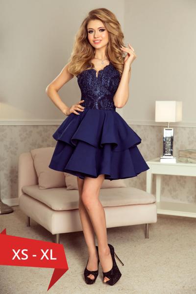 Rochie scurta de seara albastra Charlotte - Rochii scurte elegante 0
