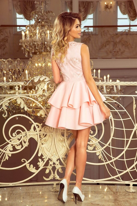Rochie scurta eleganta de seara Alexis roz pastel 1