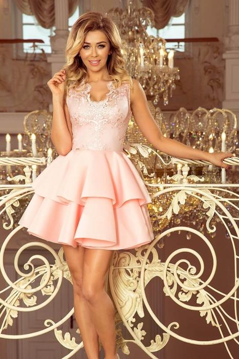 Rochie scurta eleganta de seara Alexis roz pastel 2