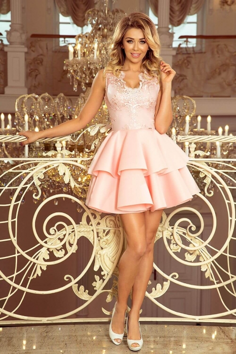 Rochie scurta eleganta de seara Alexis roz pastel 0