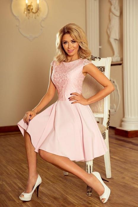 rochii scurte elegante de seara - Rochie scurta de seara Marta roz piersica 3