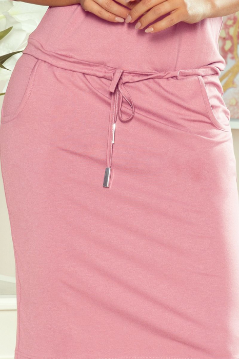 Rochie sport midi cu buzunare roz pastel - Rochii de vara [3]