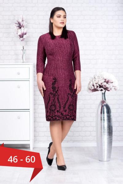 Rochie tricot mov si catifea neagra Agapia - Rochii ieftine xxl 0