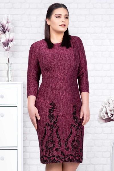 Rochie tricot mov si catifea neagra Agapia - Rochii ieftine xxl 3