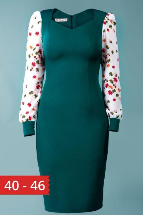 Rochie verde cu maneci din voal imprimat Amalia 0