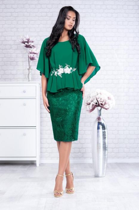 Rochie de ocazie midi din dantela verde smarald - Rochii elegante marimi mari 0