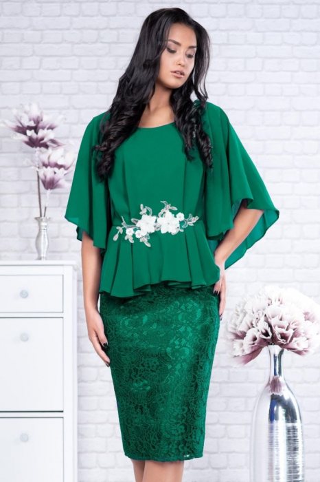 Rochie de ocazie midi din dantela verde smarald - Rochii elegante marimi mari 1