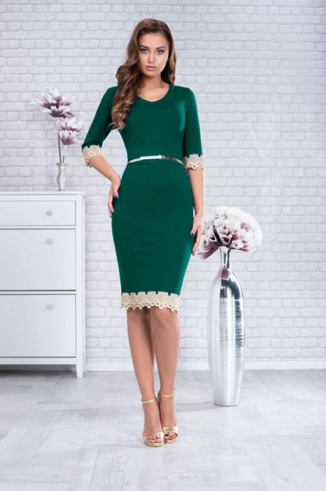 Rochie verde smarald cu dantela marimi mari [0]