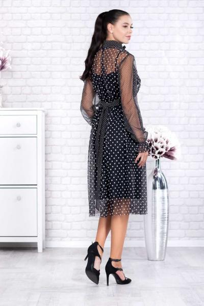 Rochie neagra eleganta cu buline Elisabeth - Rochii tulle 1