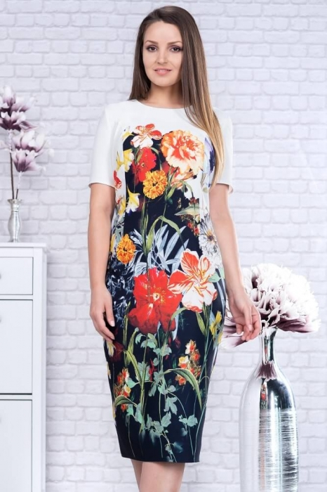 Rochii midi de zi - Rochie midi de zi marimi mari Romina, floral 2
