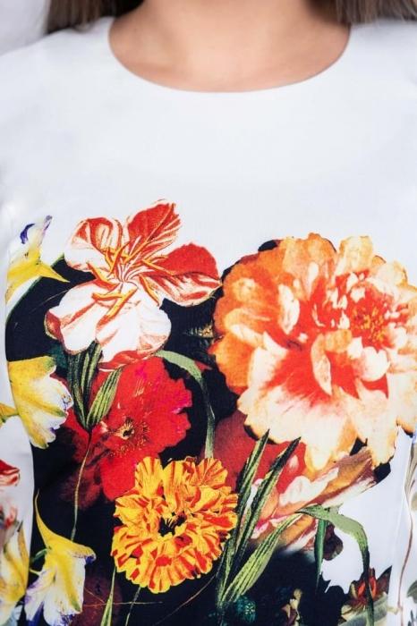 Rochii midi de zi - Rochie midi de zi marimi mari Romina, floral 3