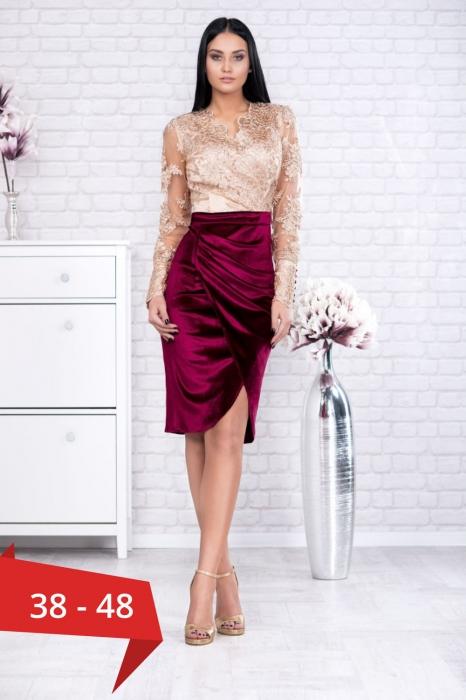 Rochii elegante de seara - Rochie grena de seara din catifea Carola 0