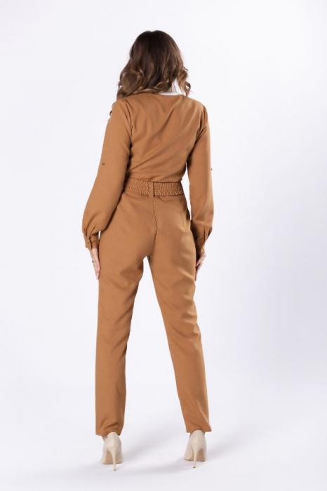 Salopeta army cu pantaloni conici, culoare maro 1