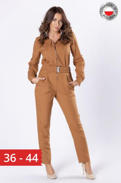 Salopeta army cu pantaloni conici, culoare maro 0