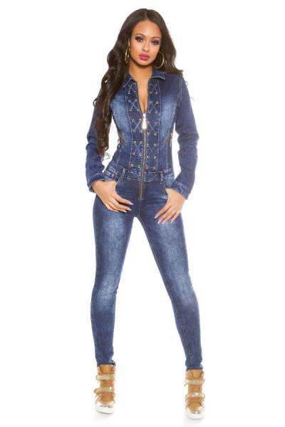 Salopeta de blugi dama bleumarin - Salopete dama casual 0