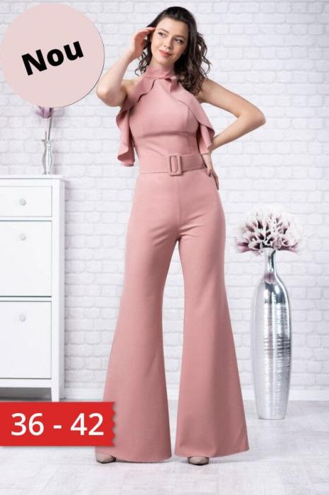 Salopeta eleganta cu pantaloni evazati Jolie roz 0