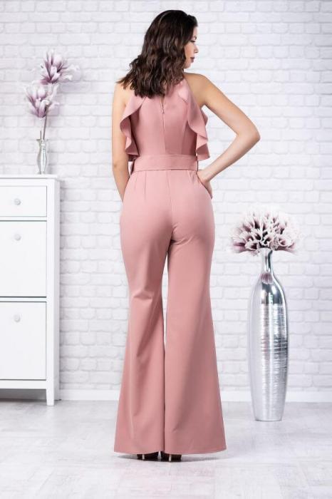 Salopeta eleganta cu pantaloni evazati Jolie roz 1