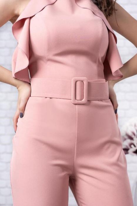 Salopeta eleganta cu pantaloni evazati Jolie roz 3