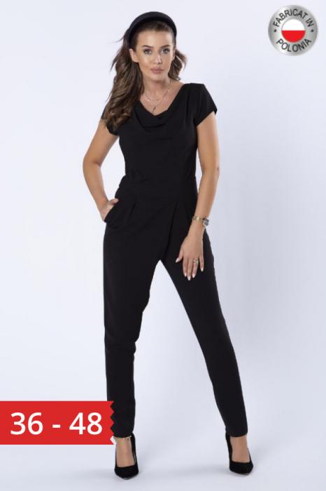 Salopeta eleganta neagra cu pantaloni conici 0