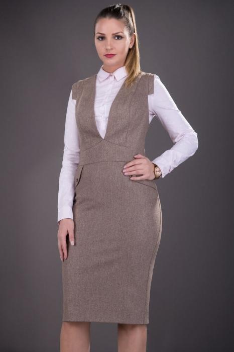 Sarafane elegante office - Sarafan dama elegant Tina bej 1