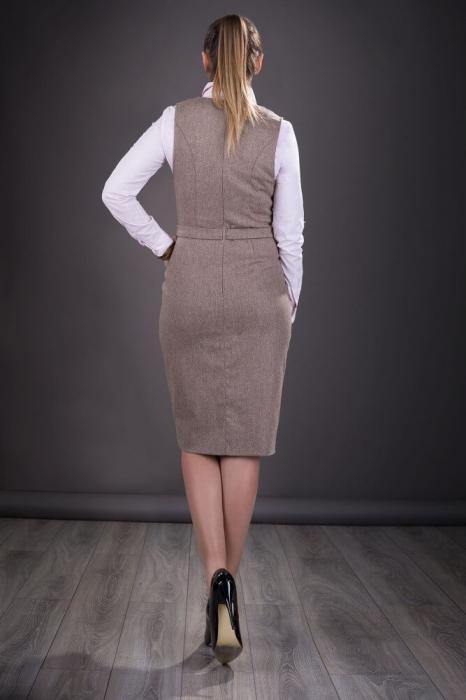 Sarafane elegante office - Sarafan dama elegant Tina bej 2
